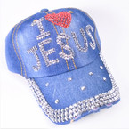 I Love Jesus Stone Baseball Caps Dark Denium sold by pc $ 4.25 each