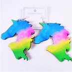 "3"" Multi Color Unicorn Wood Earrings  .54 per pair"