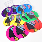 "3"" Colorful Black History Theme Wood Earrings  .54 per pair"