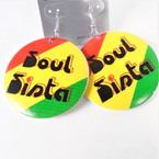 "2.50"" Rasta Color Soul Sister Wood Earrings  .54 per pair"
