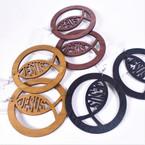 "3"" Rd. Jesus Wood Tone Earrings 3 colors .54 per pair"