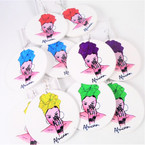 "2.75"" Fashion Girl Wood Earrings w/ Colorful Turbin   .54 per pair"