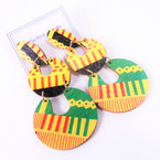 "3"" African Color & Theme Dangle Part Wood Earrings  .54 per pair"