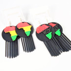 "3"" Black Hair Pick w/ Rasta Color Africa Map  Wood Earrings   .54 per pair"