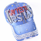 Say Yes to JESUS Stone Baseball Caps Dark Denium sold by pc $ 4.25 each