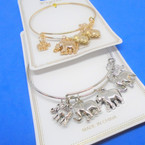 Gold & Silver  Wire Bangles w/ Mixed Elephant  Charms  .54 each