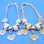 Pandora Style Charm Bracelets Gold/Silver w/  Love Heart  Charms .56 ea