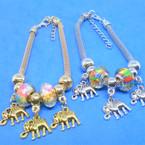 Pandora Style Charm Bracelets Gold/Silver w/  Beads & Elephant  Charms .56 ea