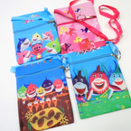 "5"" X 7""  Cutie Shark Zipper Side Bags w/ Lg. Ribbon Strap   12 per pk .56 each"