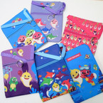 "5"" X 7""  Cute Shark Zipper Side Bags w/ Lg. Ribbon Strap   12 per pk .65 each"
