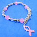 Love Theme Pink Ribbon Stretch Charm Bracelets .56 each