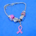 Pandora Style Charm Bracelet Silver Pink Ribbon Theme .56 ea