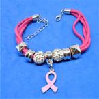 Multi Strand Suede Cord Bracelet Pink Ribbon Theme  .56 ea