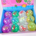 "2.5"" Super Duper Glitter Light Up Bounce Balls w/ Dino 12 per pk .58 ea"
