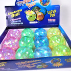 "2.5"" Super Bright  Light Up Bounce Balls w/ Glitter  12 per pk .58 ea"