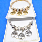 Gold & Silver Spring Style Bracelet w/ Tree of Life Charms .54 ea