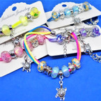 Triple Cord Bracelets w/ Glass Beads & Silver Turtle Charm .54 each
