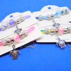 Triple Cord Bracelets w/ Fireball Beads & Silver Turtle Charm .54 each
