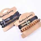 2 Pk Teen Leather Bracelet w/ Cross Plus Wood Bead Bracelet  .55 per set