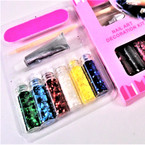 Nail Art Decoration Kit Glitter Flakes w/ Glue 12 per pk .54 per set