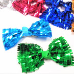 "5"" Asst Color Sequin Gator CLip Bow w/ Knot Center .54 each"