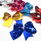 "5"" 2 Layer Change Color  Sequin Gator CLip Bow w/ Stone Center .54 each"