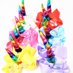 "5.5"" Gator Clip Bow w/ Unicorn Theme w/ 4"" Rainbow Horn .54 each"