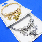 Gold & Silver Spring Style Bracelet w/  Turtle  Charms  .54 ea