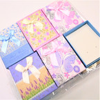 "3.5"" X 2.75"" Printed Gift Boxes w/ Ribbon & Insert asst colors .54 each"