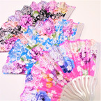 "Beautiful 9"" Lite Color Metallic Pattern Hand Fans asst colors .56 each"