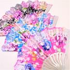 "Beautiful 9"" Lite Color Metallic Pattern Hand Fans asst colors .56 each"
