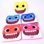 "4.5"" Square Happy Shark Zipper Coin Bag w/ Keychain .54 each"