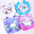 "4.5"" Popular Unicorn Theme Zipper Coin Bags w/ Horns  .54 each"