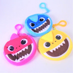"3.5"" Colorful Shark Zipper Bag w/ Clip Asst Colors .52 each"