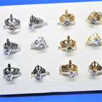Stainless Ring Crystal Stone & Heart Cross One Piece Ring 12 per bx .54 each