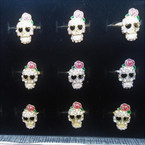 Gold & Silver Crystal Stone Skull Head Rings  12 per bx .54 each