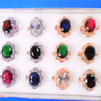 Gold & Silver Crystal Stone Rings w/ Colored Oval Stone  12 per bx .54 each