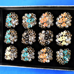Chunky Epoxy Flower & Crystal Fashion Rings  12 per bx .54 each