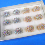 BEST BUY  Gold & Silver Crystal Stone  Brillant Fashion Rings  12 per bx .54 each