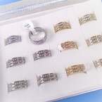 2 Line Gold & Silver Crystal Stone Stainless Steel  Rings  12 per bx .54 each