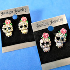 Gold & Silver Crystal Stone Skull Head Earrings .54 per pair
