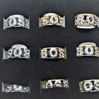 Gold & Silver Crystal Stone BOSS Band  Rings  12 per bx .54 each
