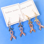 2 Part Gold & Silver Pink Ribbon Theme Earrings .54 per pair