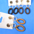 "2.5"" Triple Part Fashion Wood Earring w/ Crystal Stone Ring .54 per pair"