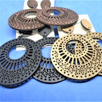"""3""""   Wood Fashion Earrings Open Pattern Design   .54 per pair"""
