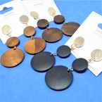 "2.5"" Simple Triple Part Fashion Wood Earring w/ Gold Top .50 per pair"