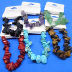 10MM Semi Precious Stone Stretch Bracelets Asst Colors .62 each