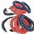 Trendy 6 Pack Phone Coil Ponytailers/Bracelets 4- Colors  .56 per set