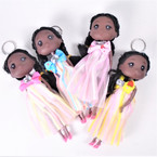 "6"" African American Doll Keychains w/ Fancy Outfit & Bow  .58 each"