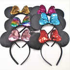 Black Mouse Ear Fashion Headbands w/ Sequin Change Color Bow .56 each